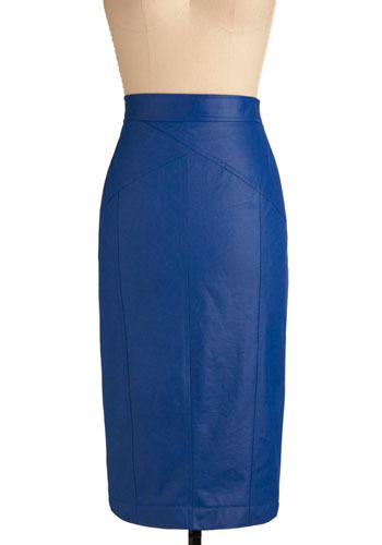 A slim, shiny blue skirt on a mannequinn.