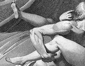 Black-and-white engraving of a man and woman's entangled and very naked limbs. He has a hand underneath her calf, and she is curling one hand on the back of his neck. Both figures are in the far right of the frame and passing out of sight, as though he has tackled her with irresistible passion.