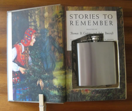 A children's book open to reveal a flask where the text block should be. Text reads: Stories to remember.