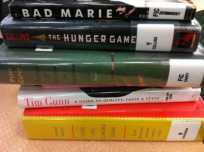 An image of the spines of several hardback books with spine tags identifying them as library books.