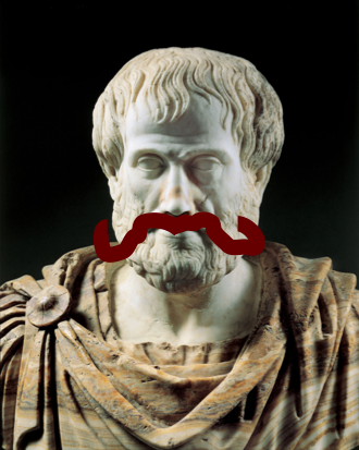 A photo of a bust of Aristotle, with a large and curly red mustache drawn on.