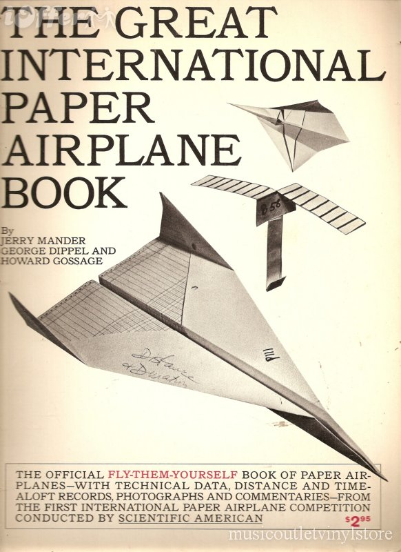 Cover image for The Great International Paper Airplane Book, with a paper jet, paper helicopter, and some other fancy folded paper in the background.
