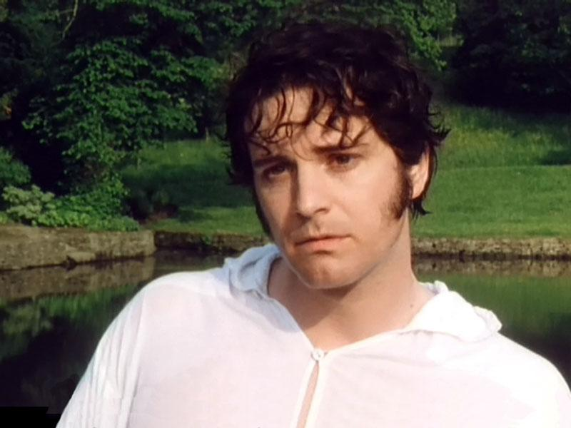 A Pride and Prejudice screencap of Colin Firth in a see-through wet white poet shirt, looking somewhat despondent.