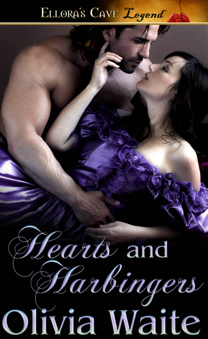 The cover for Hearts and Harbingers by Olivia Waite. A burly dark-haired man clasps a prone dark-haired woman in his big, beefy arm. The woman wears a lavender silk gown and has one hand nearly caressing the man's cheek.