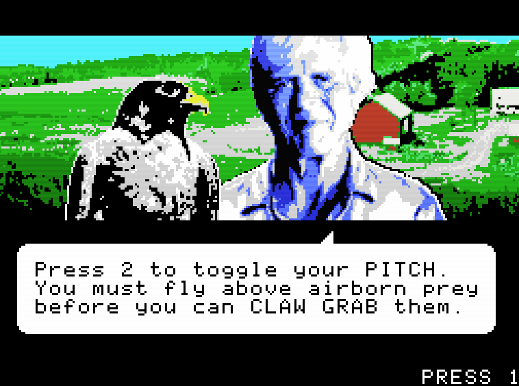 A screencap from the imagined video game George Plimpton's Video Falconry