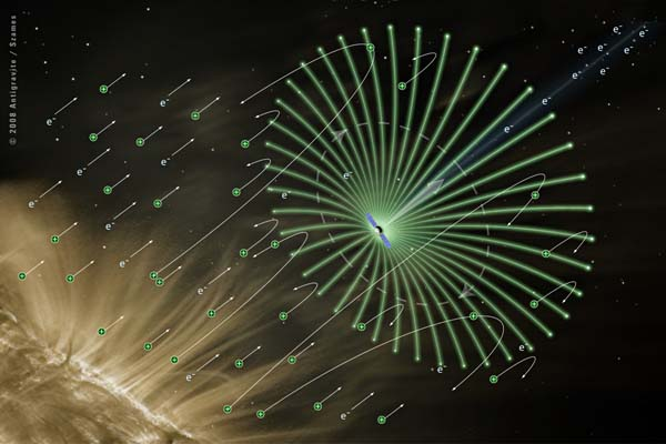 A view of space, black and starry, with golden gusts of solar wind in the lower and left side of frame. A tiny spacecraft sits at the center of a starburst of glowing green electric wires, with arrows indicating the direction of ion movement and the pressure of the electron gun.