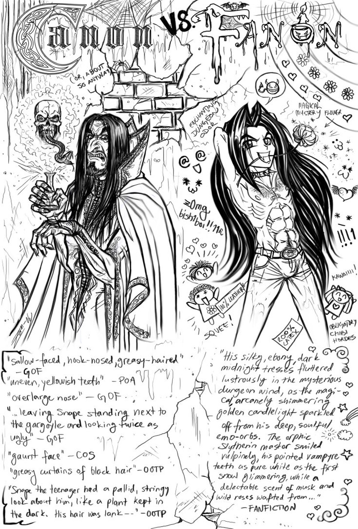 Artist's depiction of Severus Snape from Rowling's texts, and a totally different image drawn from fan-authored stories about Severus Snape. Guess which one's sexier?