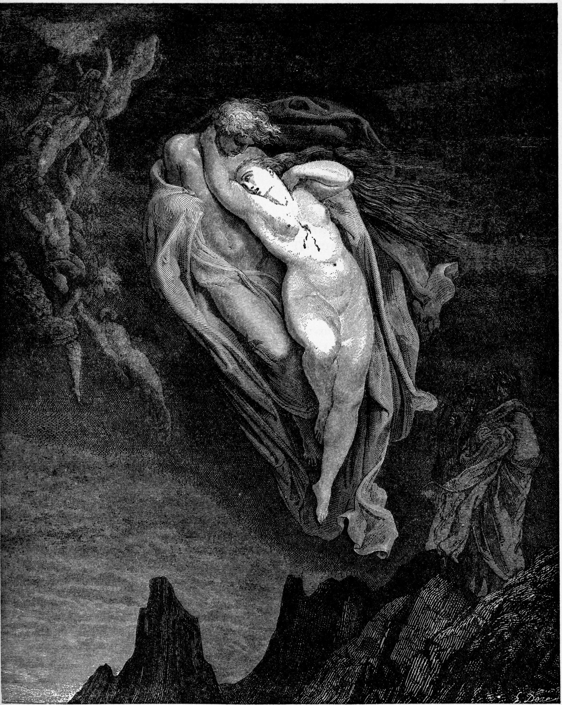 Dore's image of Francesca and Paolo from Dante's Inferno.