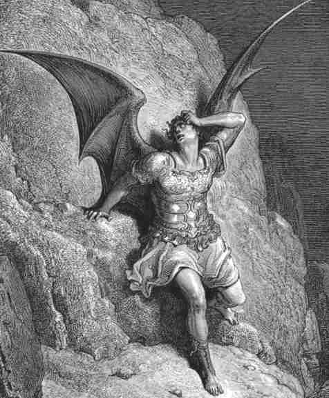 An etching by Gustave Dore, showing a muscular, pale-skinned man with long hair, princely armor, enormous batwings, and a forlorn expression. One hand is resting on the rock face behind him, supporting his unsteady body.