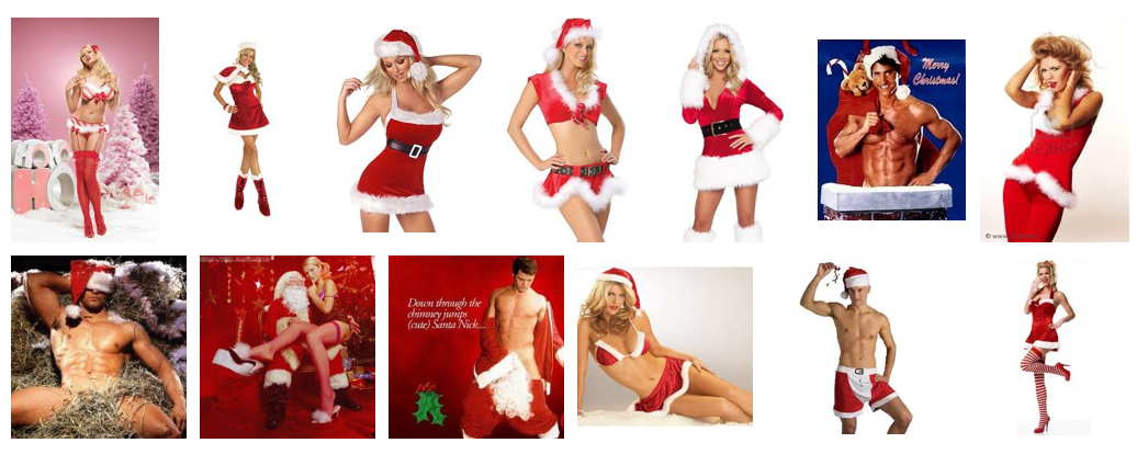 "First screen of Google image results for the term ""sexy santa."""