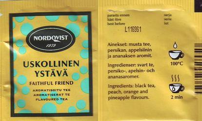 A scan of the teabag for Nordqvist's Uskollinen Ystava tea: a friendly yellow color with light turquoise spots and bold black text.