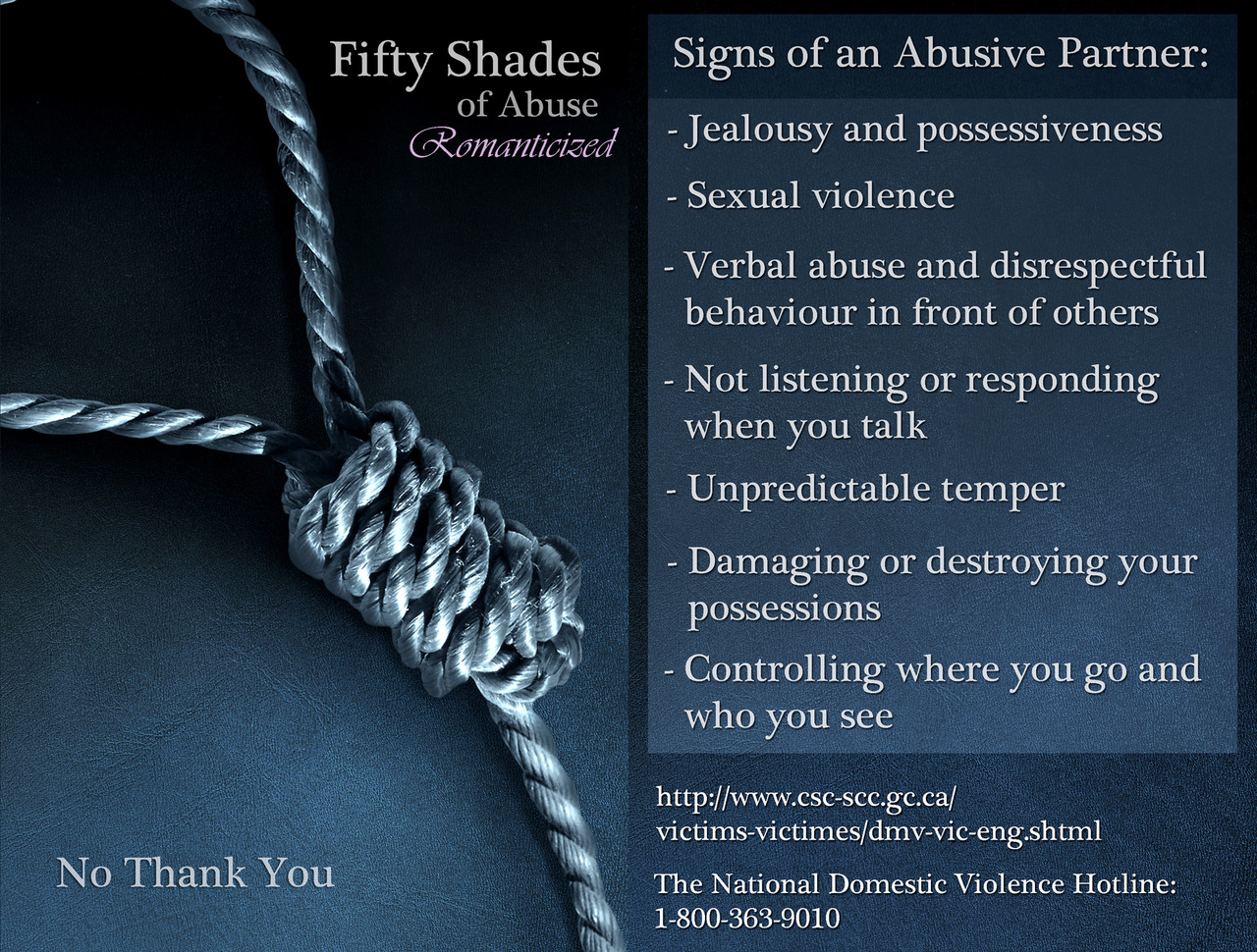 Parody of the infamous cover of 50 Shades of Grey: a close-up photo of a noose in black-and-white, with side text listing the red flags that mark an abusive relationship.