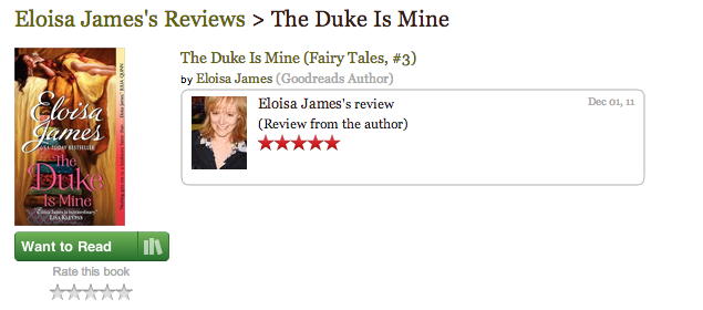 Eloisa James gives her own book five stars on Goodreads.