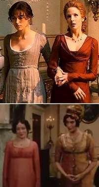Screenshots from both the 1995 and the 2005 versions of Pride and Prejudice, showing heroine Elizabeth Bennett and rival Caroline Bingley standing side by side for comparison.