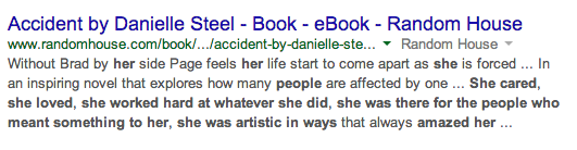 Screencap of the first result from a Google search: the best-selling writer is revealed to be Danielle Steele.