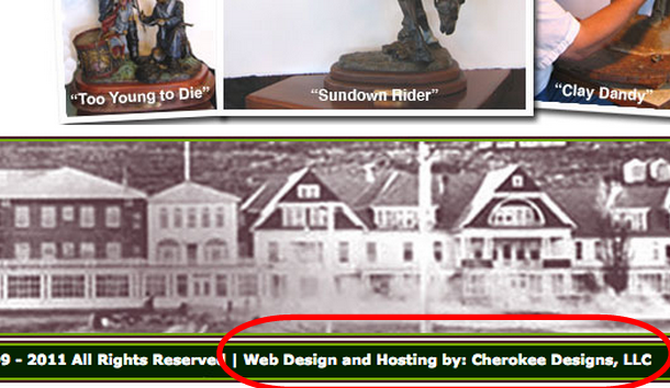 Screencap that shows David Manuel's website has been built by a company called Cherokee Designs.