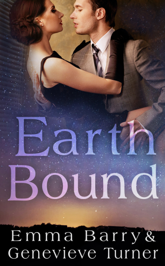 Cover image for Earth Bound. Starry background behind two light-skinned people in a tense embrace. The woman has dark hair, artful makeup, a black dress, and full-length black gloves. The man has a grey suit, intense expression, and his hands on the woman's bare skin.