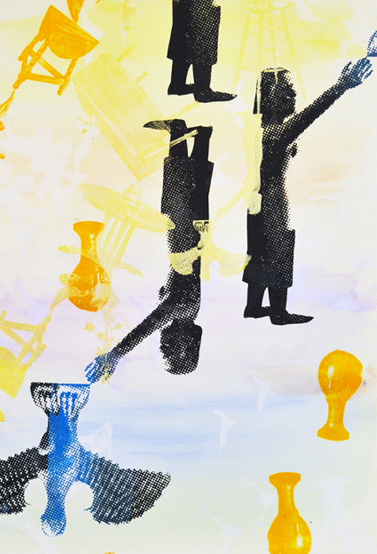 staCHo͞o Mono-printed Silkscreen and Acrylic on paper. 2012.