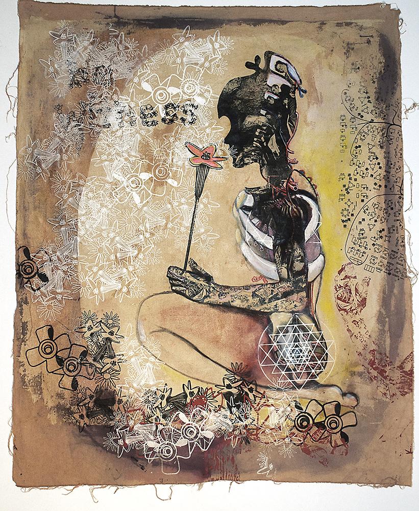 "Sniff. 2010-2012 Silkscreen, Mixed Media on canvas 35"" x 28"" collection of g. de la haba"
