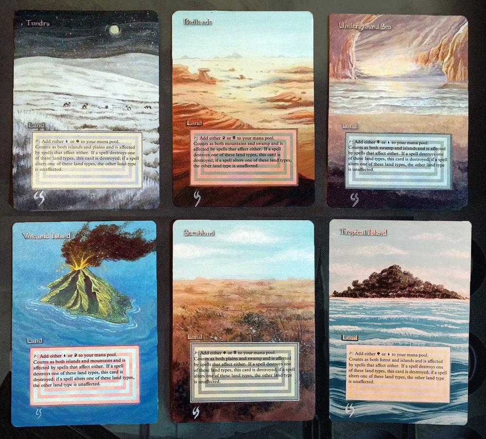 Custom acrylic painting on Magic: The Gathering cards.