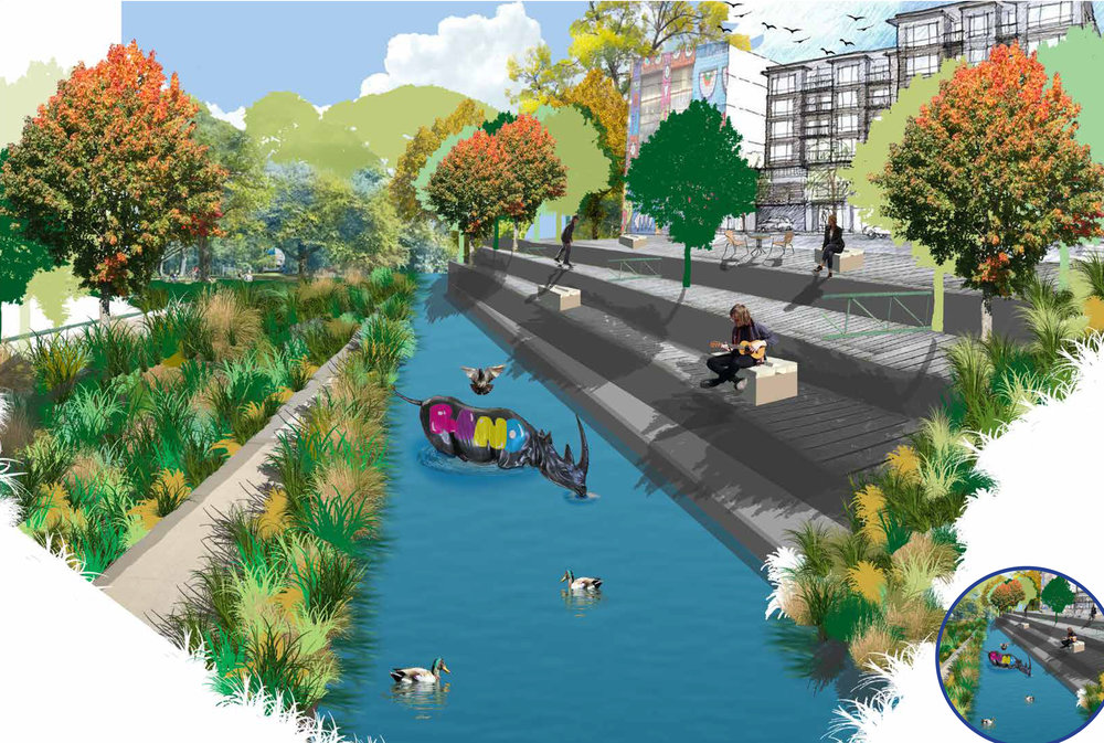 Robbie Gershon  (ENVD 3100 - Fall 2017): Perspective showing a proposed waterfront redevelopment for the RiNo Art District, Denver