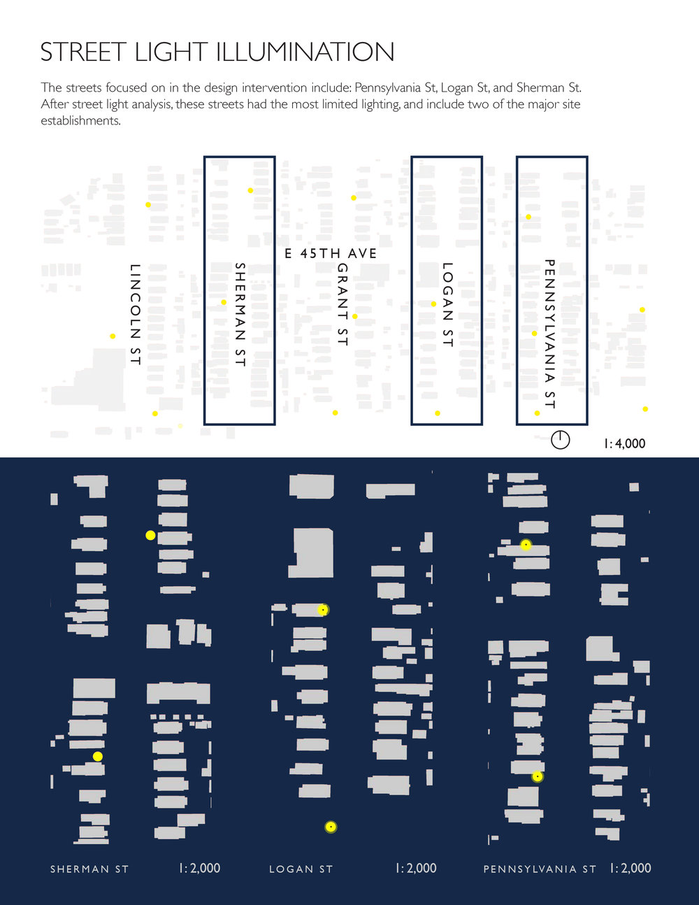 Maddie Castello  (ENVD 3100 - Fall 2017): Diagrams showing the lack of streetlights in southern Globeville, Denver