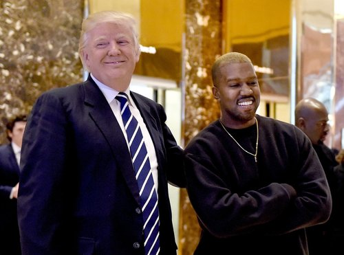 Kanye West and President-elect Trump at Trump Tower in 2016.    Credit: Timothy A. Clary/Agence France-Presse — Getty Images