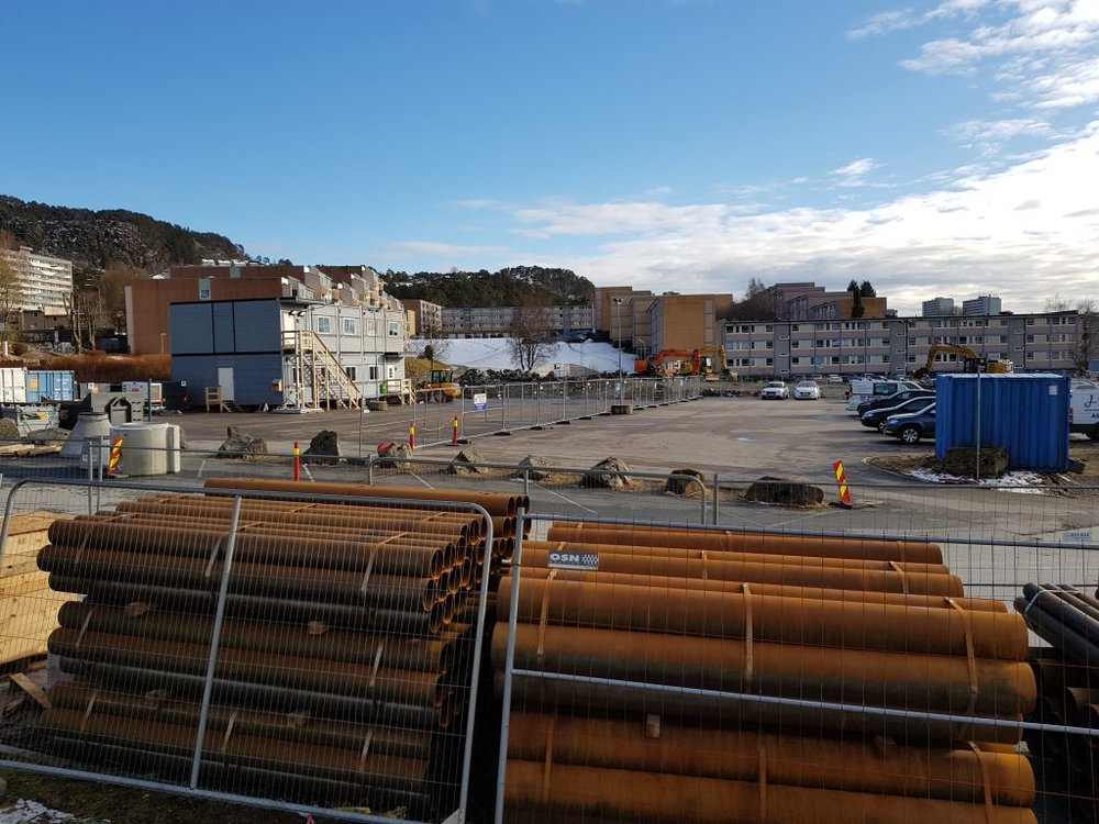 The start of construction of bybanen in Fyllingsdalen, March 2018.