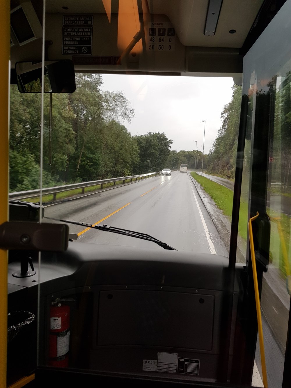 My comfort zone: Sitting on a bus, on a rainy day