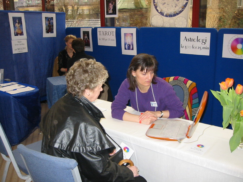 Giving an astrological reading at the Bergen New Age Fair (Alternativmessen) 2003