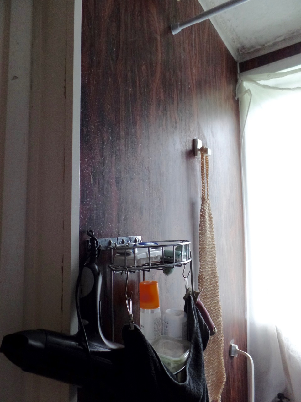 The window and wall opposite old shower/tub