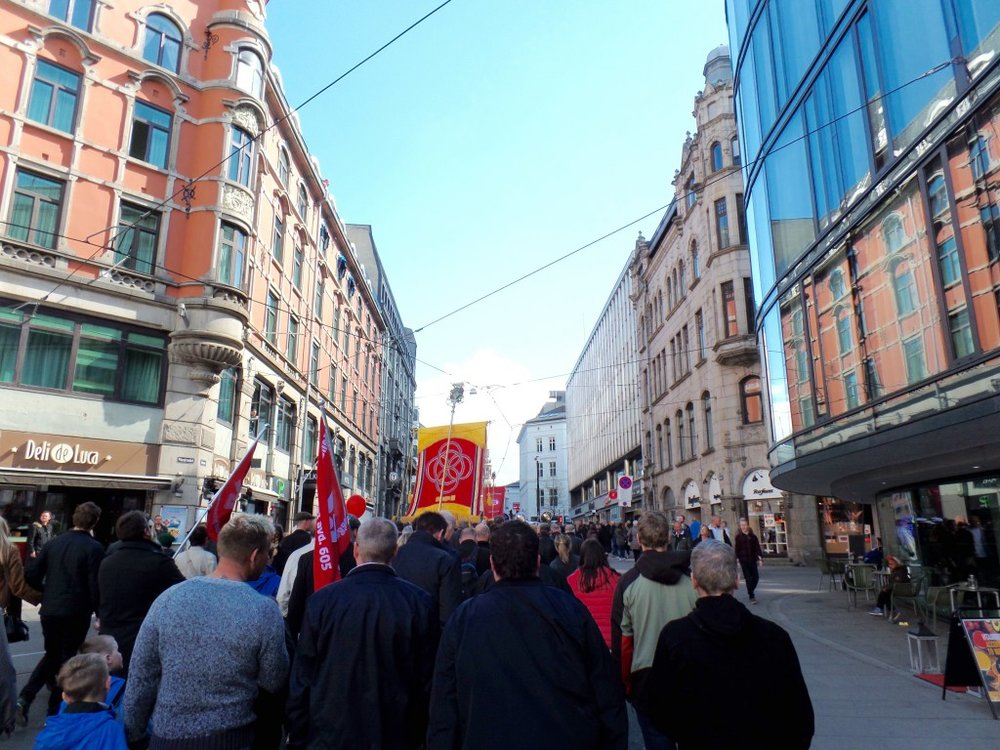 Marching in Labor Day parade, Oslo