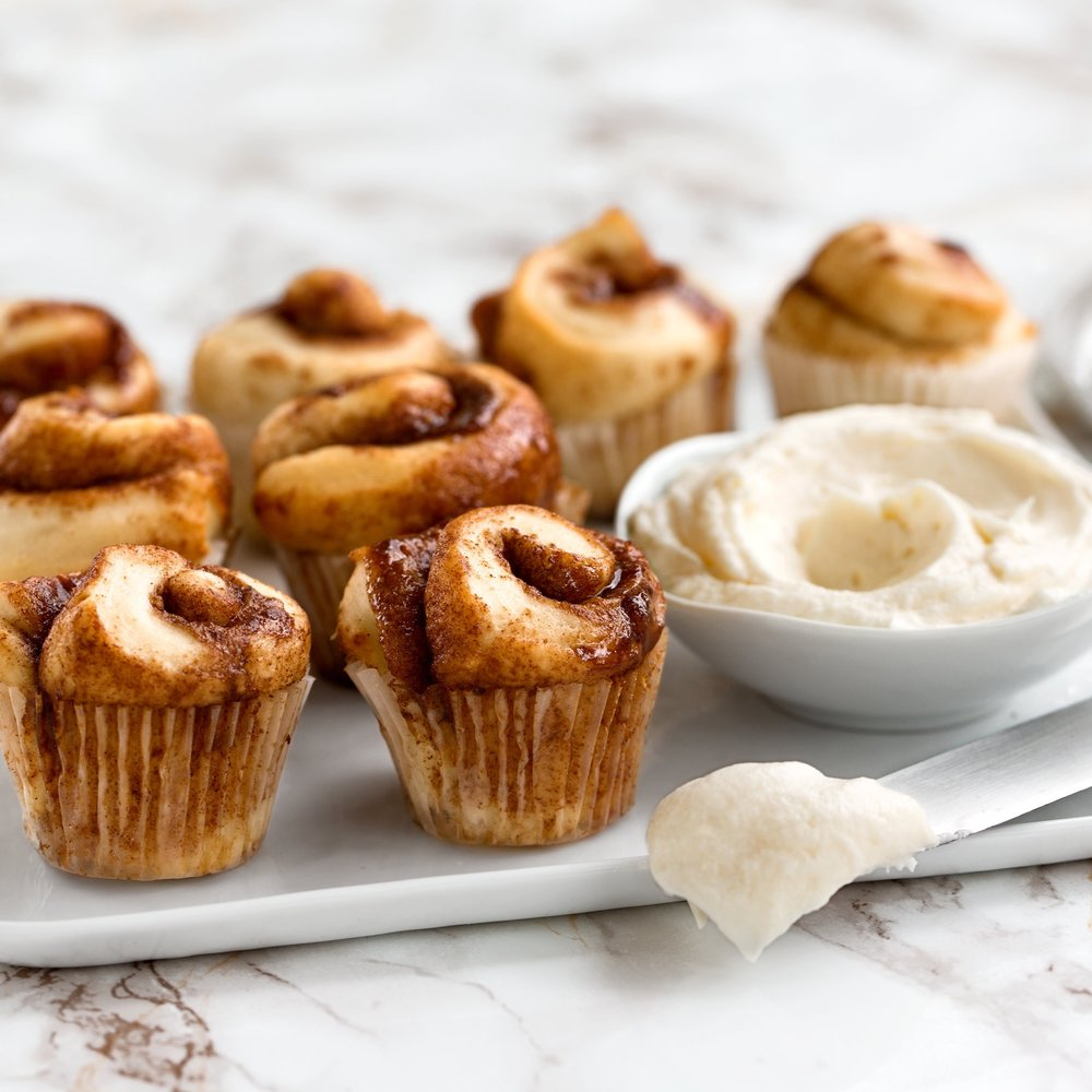 Bite-sized Baby Buns - Sold in qualities of 3, 6, or 12. Served plain or frosted with one topping.
