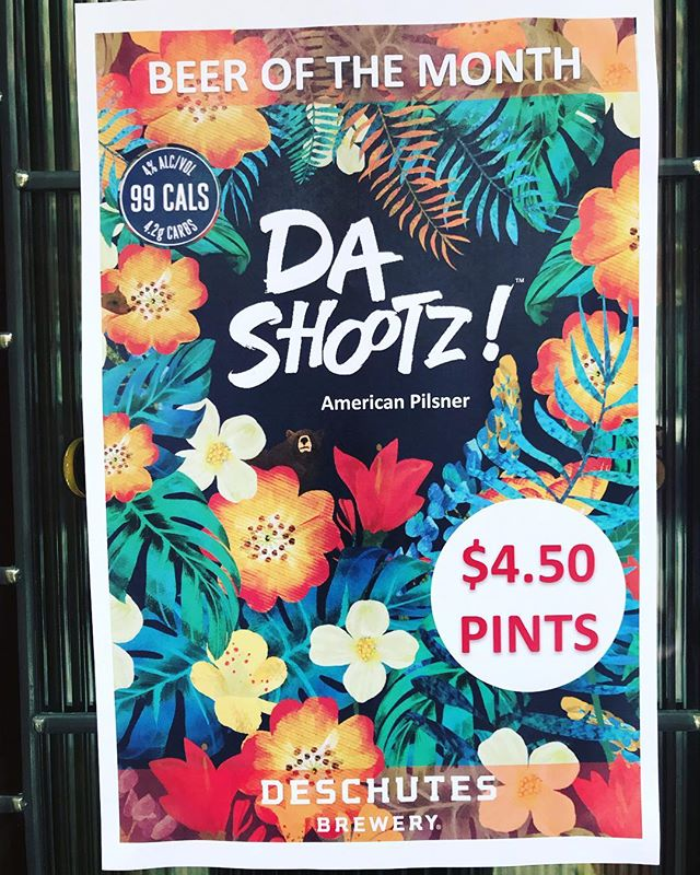 """February's beer of month is @deschutesbeer """"Da Shootz"""" American Pilsner. Clean, lightly toasted, light citrus, bubbly, and refreshing. Come try it before it's gone! 🍻🍻🍻🍻 . . . . . #beer #beerofthemonth #craftbeer #chicago #oshaughnessys #ravenswood #beers #deschutes"""