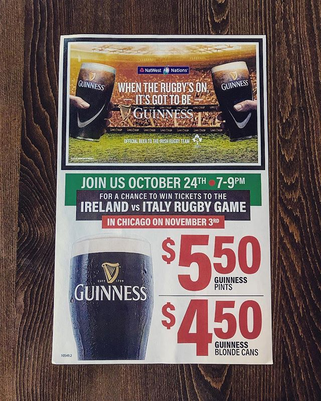 Join us October 24th from 7-9pm for a chance to win tickets Ireland v Italy Rugby game in Chicago! $5.50 for some of the best Guinness pints you can find here in the city!🍺🏉 . . . #oshaughnessys #publichouse #chicago #chicagogram #chicagoland #ravenswood #illinois #rugby #ireland #italy #beer #beerstagram #guinness #instagood #instadaily #win