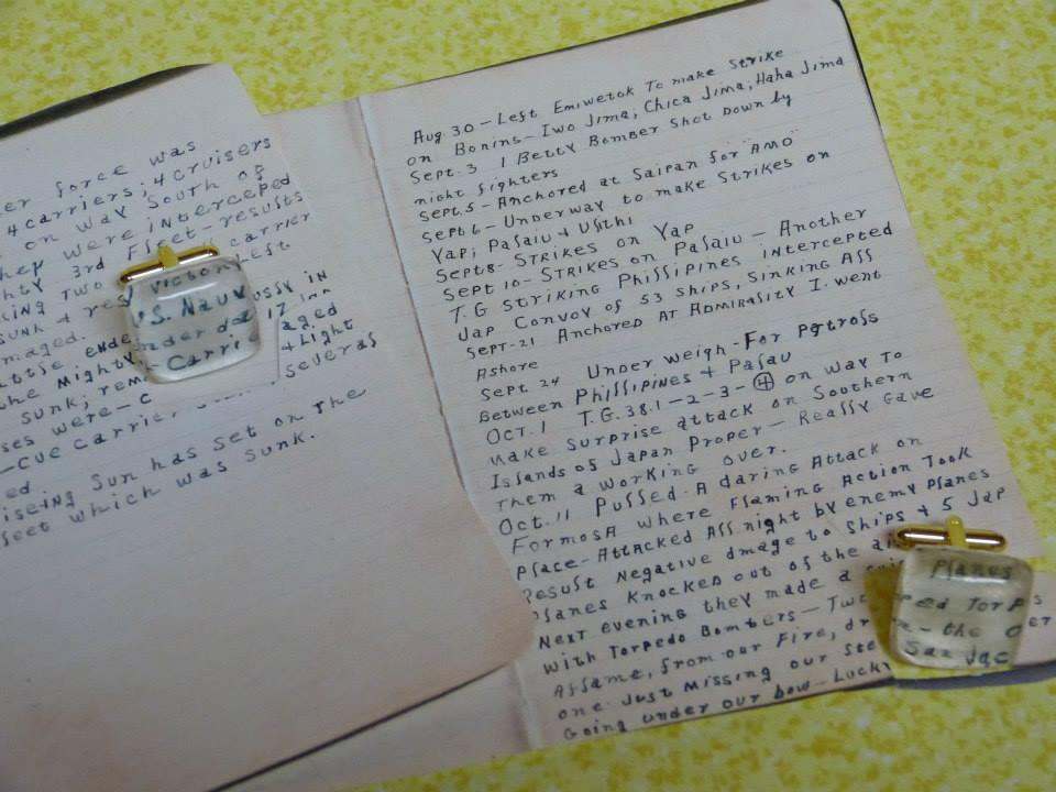 """My uncle met and married the most wonderful woman this spring. He was very close to my grandpa and had an inherent fascination for his wartime stories. With that said, I surprised him on his wedding day with cuff links made from Grandpa's war journal. He was on the San Jacinto ship, which is why""""San Jac"""" is in one."""
