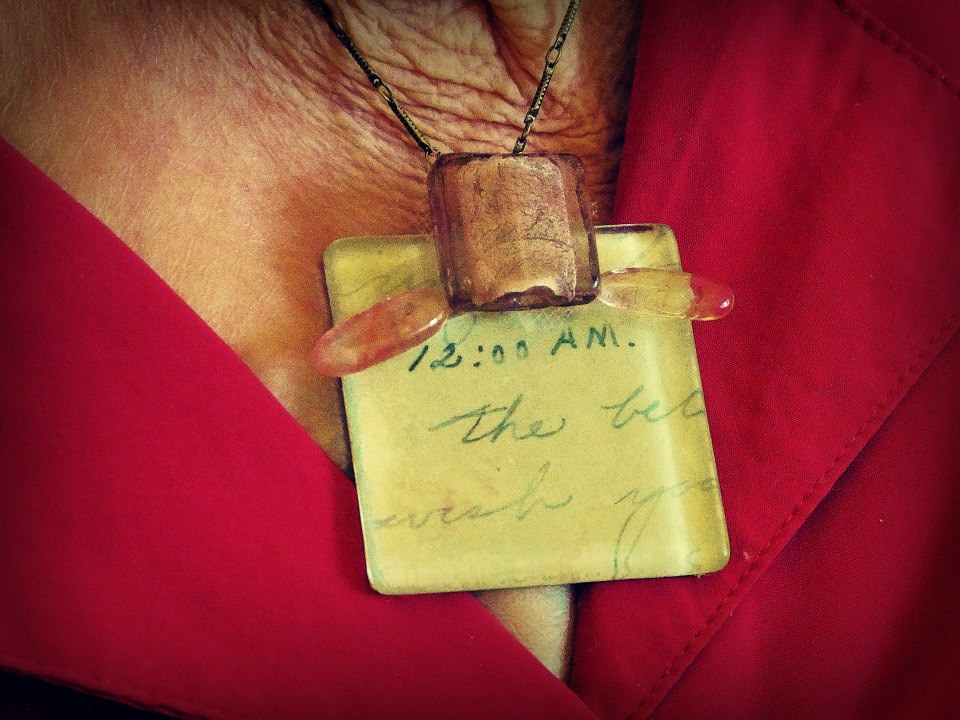 """Grandma (Agnes) wearing a letter that she wrote to Tommy on NYE 1943 during WWII: """"It's 12:00 AM. Happy New Year, Darling. The bells are ringing now, honey. I wish you were here, so I could put my arms around you & kiss you."""""""