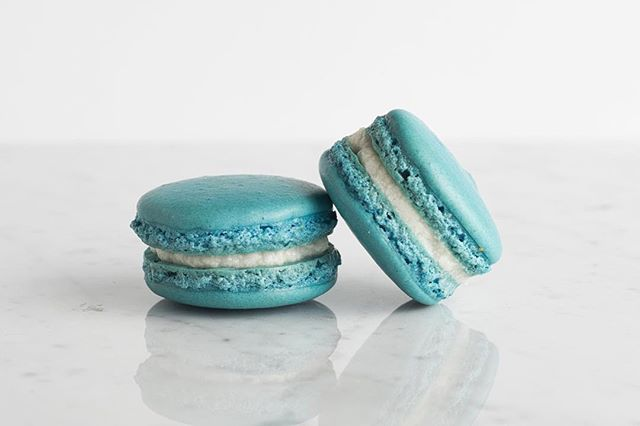 One of all time favorite flavors is a simple vanilla macaron. Our offering for this favorite flavor has a bright blue shell filled with a sweet and vanilla-ey buttercream filling. We can also do a dairy free buttercream option for this flavor upon request!
