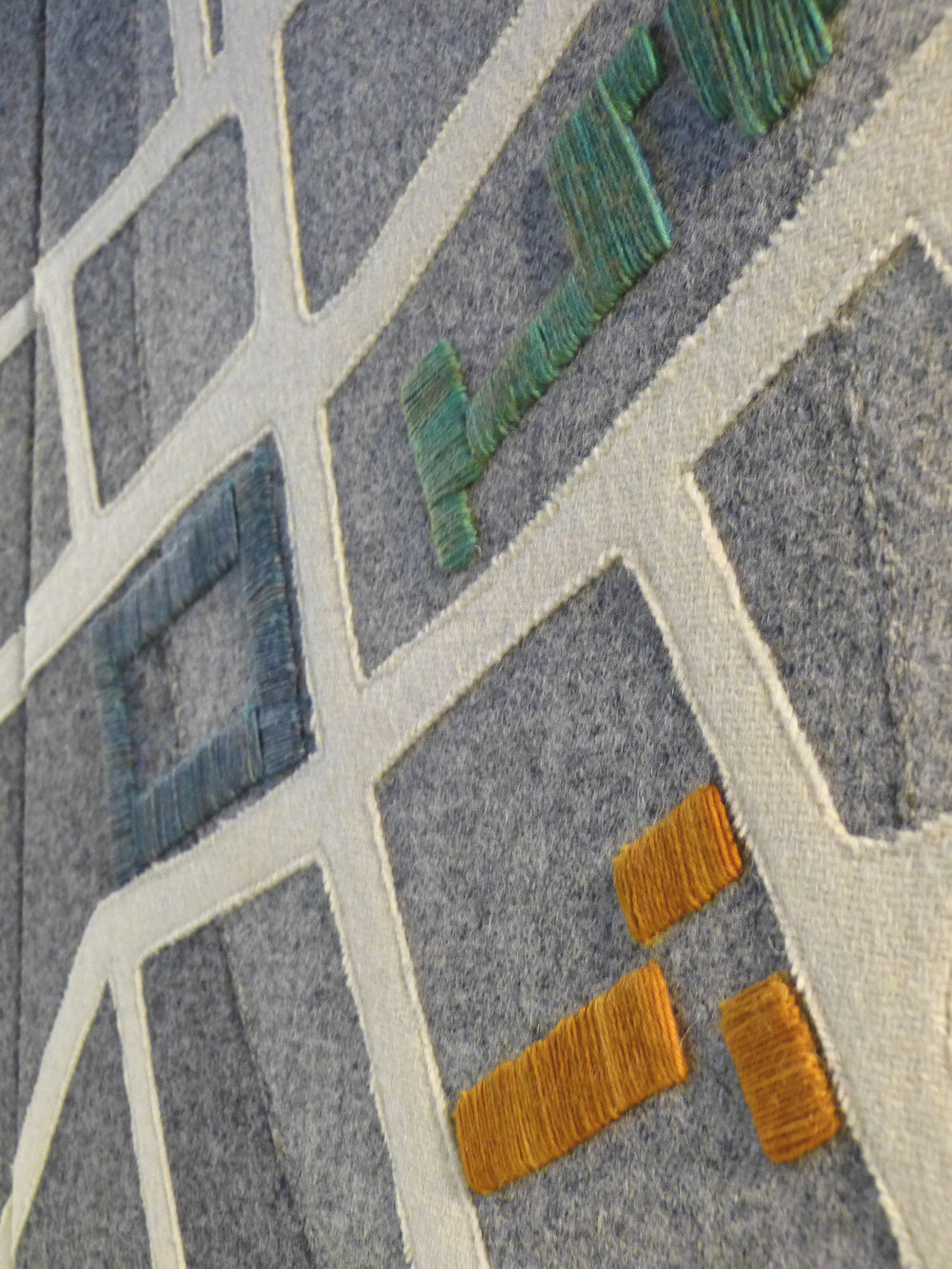 detail of central panel: significant buildings, hand embroidered