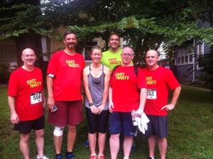 """2013 P2T Group: """"Group 4"""" of 2013 P2T training and the coaches that put up with all the whining about a few little hills, Lauren Caswell and Brad Mitchell"""