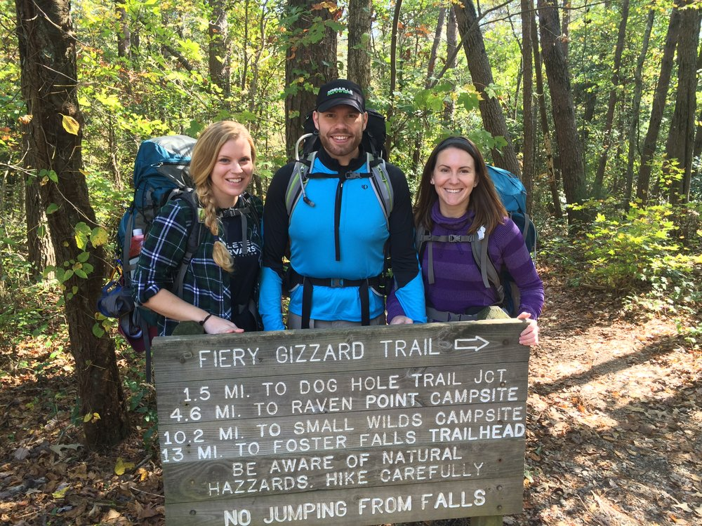 Lindsey backpacking with fellow East Nasties Brian Johnson and Mindy Roche