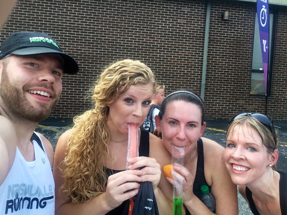 Lindsey with Brian, Mindy, and Joanna after the Tomato Arts 5k