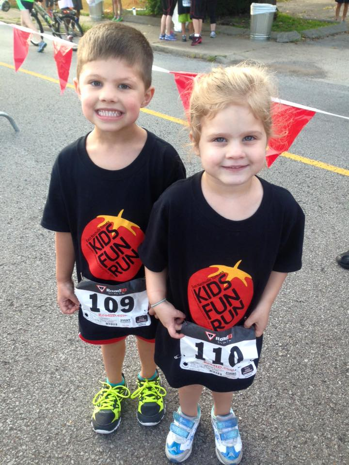 The Babies! Lincoln and Adelyn at Tomato 5k -- now a Smith family affair!