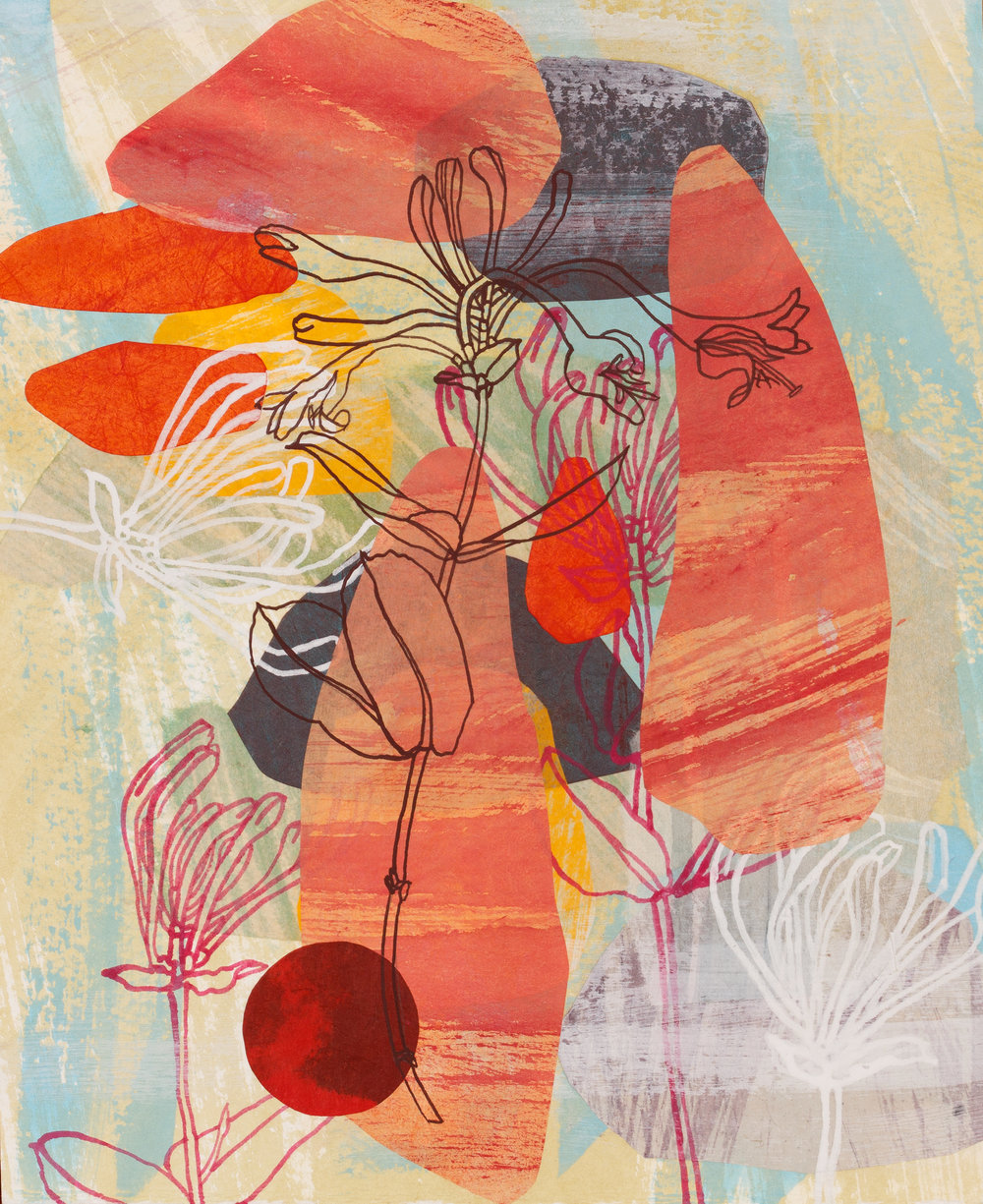 Walking with Jean Bellette#1cerise honeysuckle_Julie Bradley_mixed media_2017_29 x23.7cm.JPG