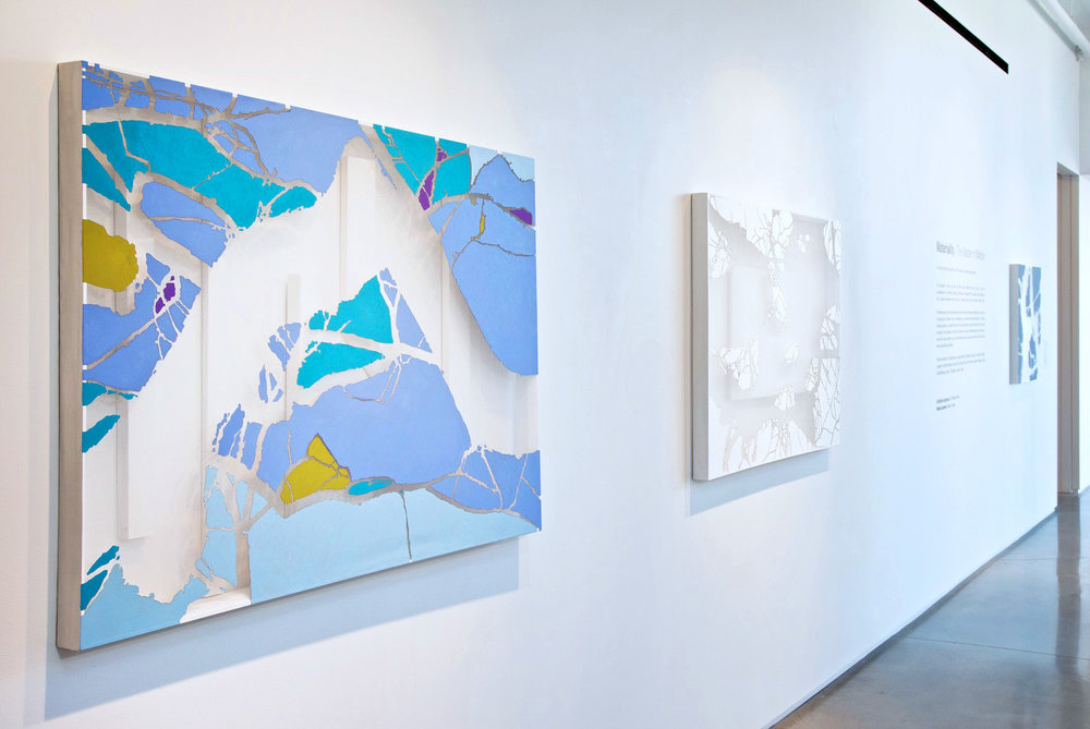 INSTALLATION VIEW   Along The Way   and   I am Here; You are There    THE SPACE BETWEEN  series Lisa Kellner Oil, Acrylic, Flashe, Embroidered Thread on Silk over Wood with Recessed Wood Structures. 38 x 54 x 3 inches  Available at   Zatista  .
