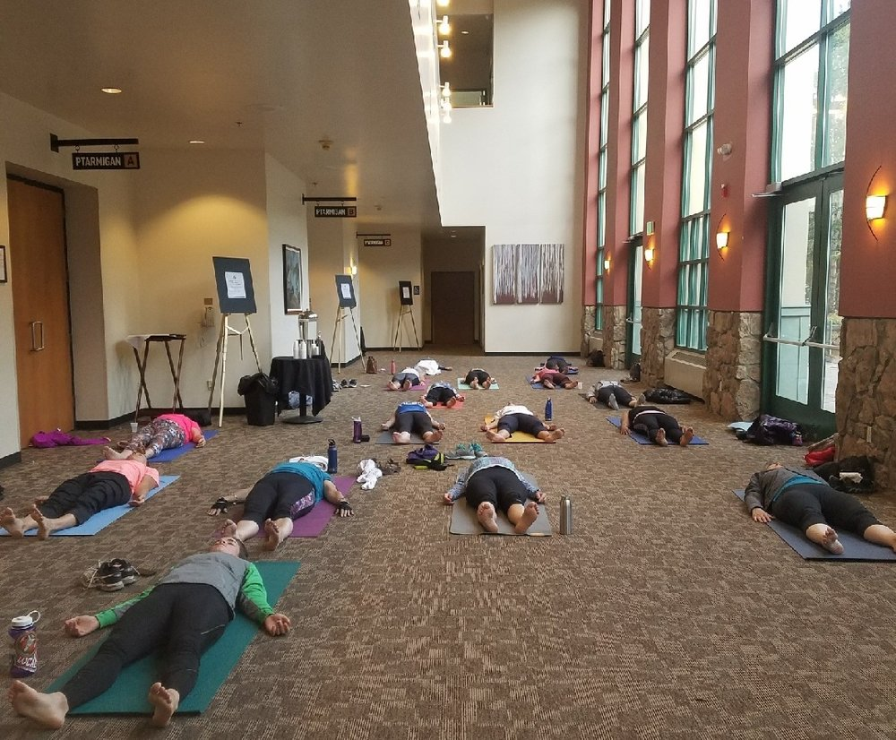 In August 2018 I got the chance to teach the morning yoga class at  Public Health in the Rockies  at Copper Mountain.