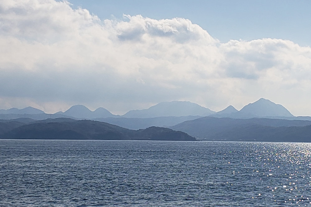 The highlands of Kunisaki Peninsula from the ferry.