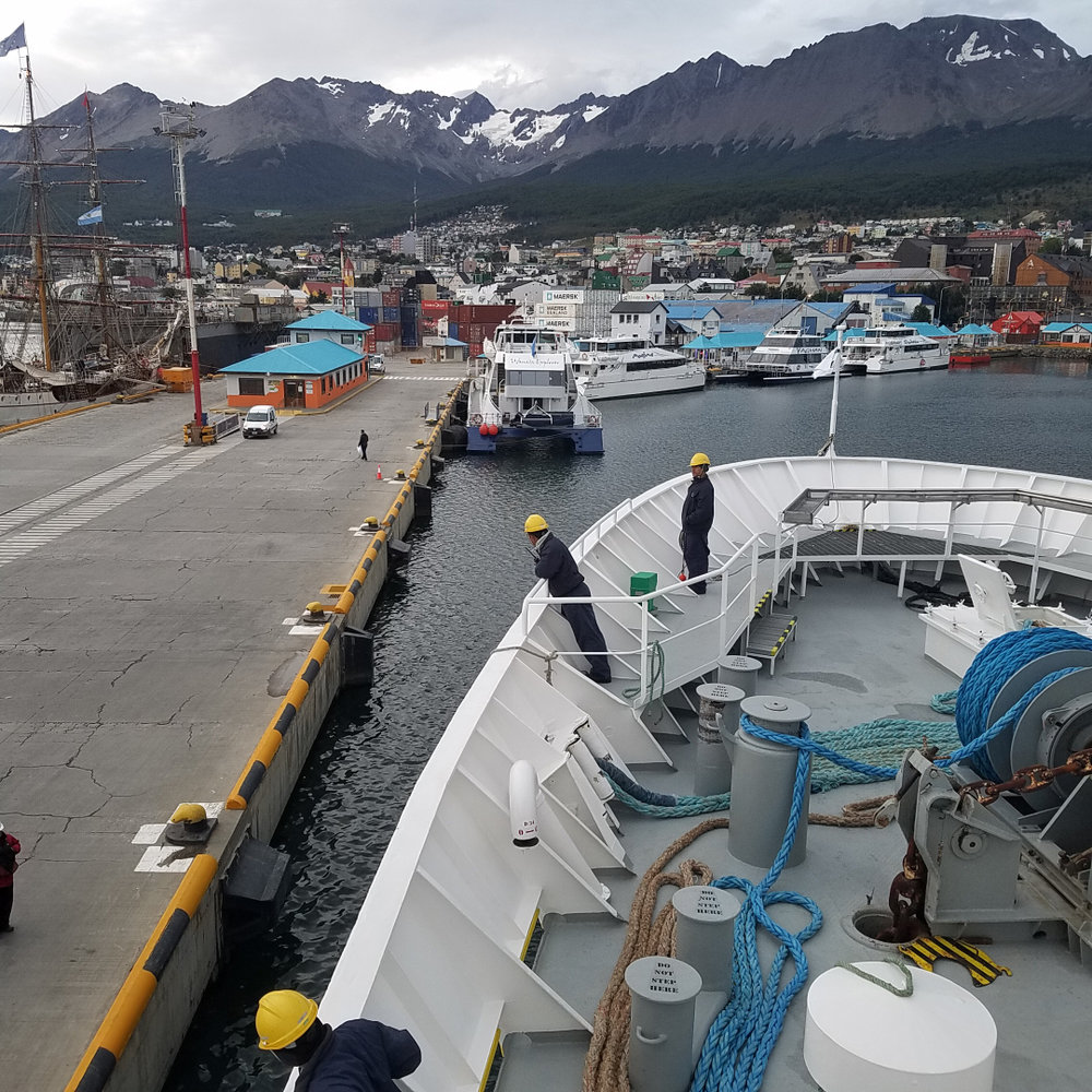 """Docking at """"Puerto Ushuaia"""" after returning from Antarctica."""