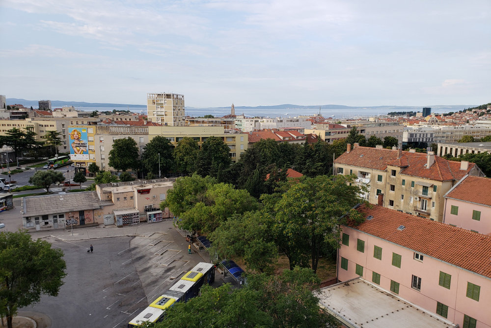 Split, Croatia: the view of the harborfront (and bus station...!) from our 8th floor condo Air BNB