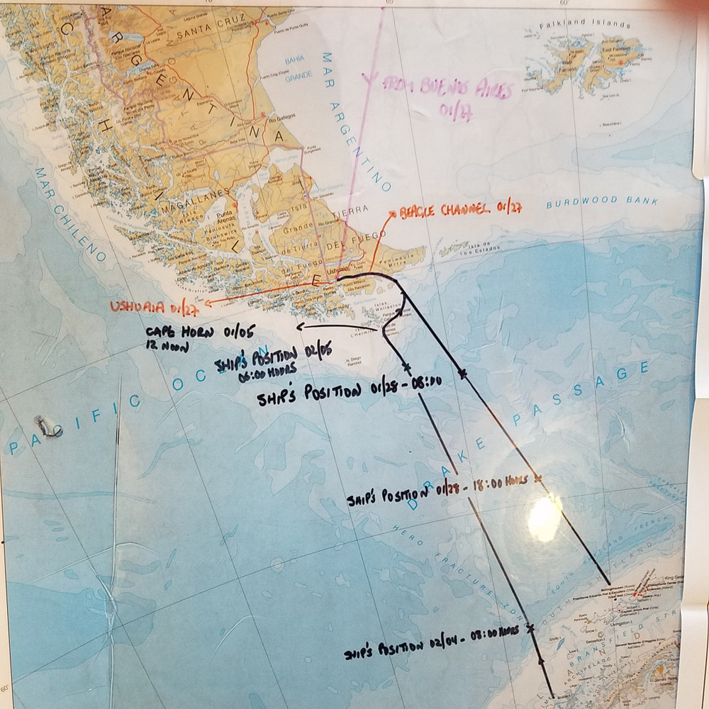 the map of Drake Passage with our route